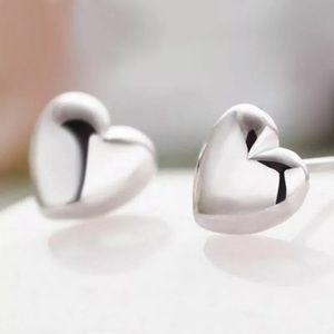 Puffy Heart Earrings Silver Cute!